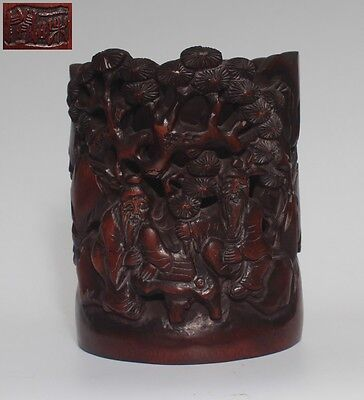 Very Rare Chinese Hand Carved Bamboo Brush Pot With Marked (L949)