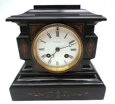 Tremendous Victorian Antique 8 Day French Marble & Slate Striking Mantel Clock