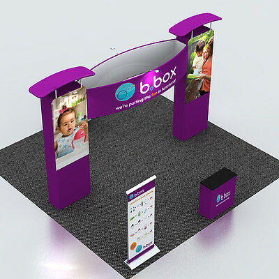 10ft Fabric Trade Show Exhibition Display System with Counter and Roll up banner
