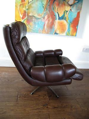 60s 70s DANISH MID 20TH C GREAT design leather swivel armchair
