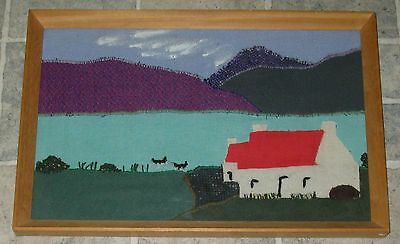 ORIGINAL IRISH WOOL TEXTILE ARTWORK THATCHED COTTAGE 1960s FROM SHOP IN DUBLIN