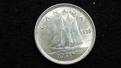 1938 Canada Ten 10 Cent George Vi Silver Dime Coin In Au+ Condition