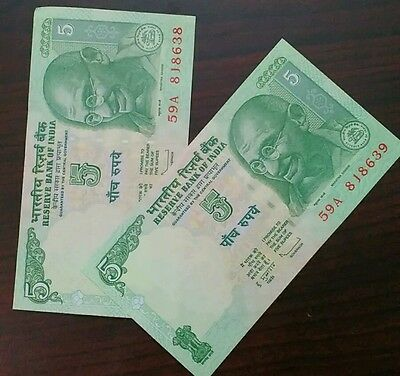 2 Note - 5 Rupee India Bank Note - UNC #us - FREE SHIPPING