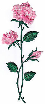 Pink Rose Flower Embroidery Iron On Applique Patch - Flowers - Roses