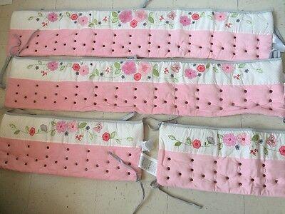 Nurture Imagination Airflow Bumper For Girl Pink Floral NIB. 4 Piece