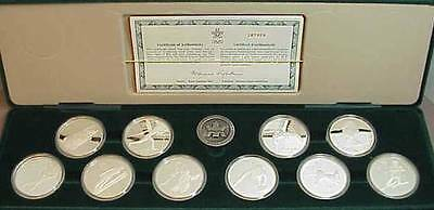 1987 1988 Calgary Olympic Winter Sterling Silver Proof Coin Set Royal Canadian