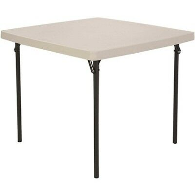 Lifetime Folding Card Table 22301 37-inch Almond Square Plastic Top