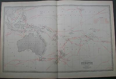 1888 Australia Outline Map of Oceania Showing Routes of Early Discoveries Cook