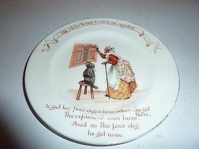Doulton China 15.6Cm Nursery Rhyme Plate With Old Mother Hubbard Wentto Cupboard