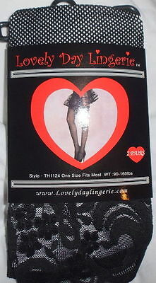 Two Pair LOVELY DAY Black Fishnet LACE TOP Thigh High Stockings ~ One Size