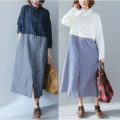 Retro Women Long Sleeve Casual Loose Cotton Linen A-Line Maxi Shirt Dress Kaftan