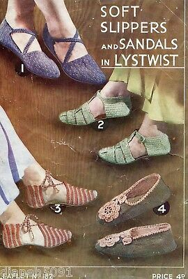 Women's Slippers & Sandals Knitting & Crochet Patterns 4 Different Slippers