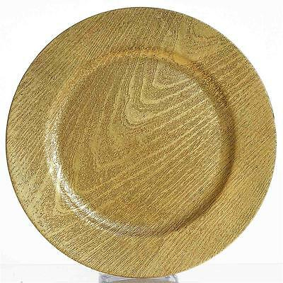 "96 pcs 13"" GOLD ROUND WOODEN TEXTURE CHARGER PLATES Wedding Party Dinner SALE"