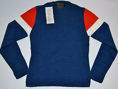 vtg VANDERBILT 100% ORLON Acrylic Red/White/Blue Sweater WINTUK Fabric Youth M
