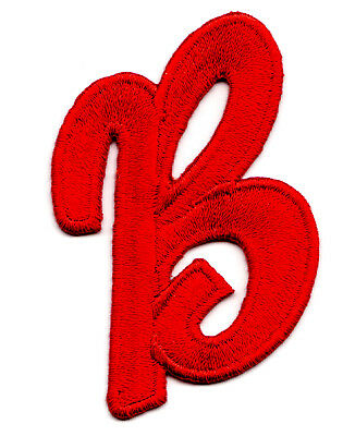 """Letters - Red Script  2"""" Letter """"B"""" - Iron On Embroidered Applique"""