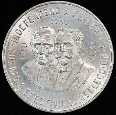 1960 Mexico 10 Peso BU Silver Coin 150th Anniversary War of Independence (LV115)