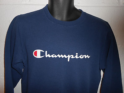 Vintage 90s Navy Blue Spell Out Script Champion Crewneck Sweatshirt Youth Large
