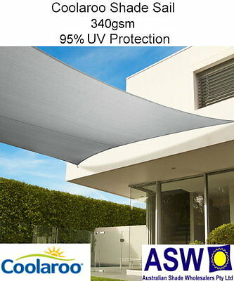 5.4m x 5.4m Square STONE Coolaroo Commercial SHADE SAIL Shadecloth SSC54ST