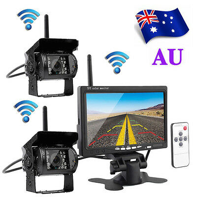 "2 x Wireless IR Night Vision Truck Rear View Reverse Backup Camera + 7"" Monitor"