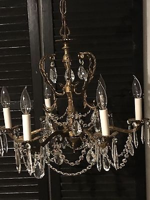 Vintage 6 Arm Solid Brass Chandelier From Spain