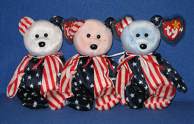 TY SPANGLE SET of 3 BEANIE BABIES - RED, WHITE & BLUE - MINT with MINT TAGS