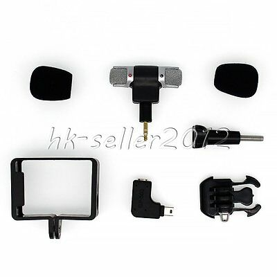 New! Frame Housing Case+External Microphone+Adapter Kit for GoPro Hero 3 3+ 4