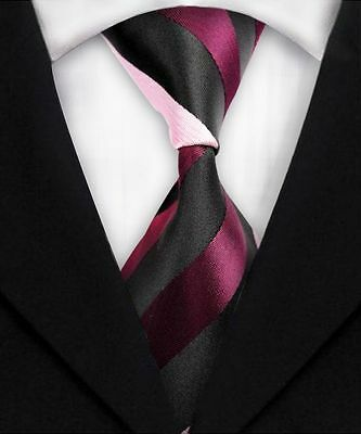 Black And Pink Striped Classic 100% Silk Men's Necktie A1794