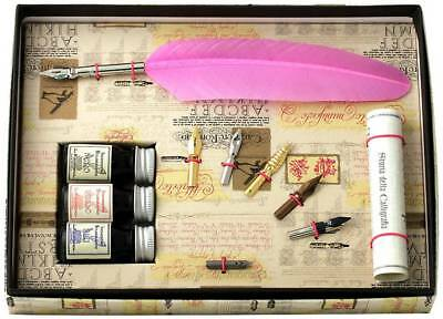 Coles Calligraphy Feather Quill with 3 Inks and 6 Nib Set - Pink