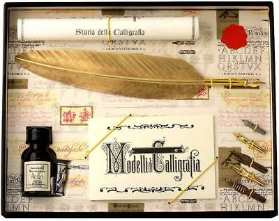 Coles Calligraphy Feather Quill and 5 Nib Set - Gold