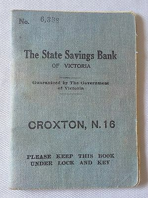 Vintage C1930's State Savings Bank Of Victoria - Croxton Branch Bank Book