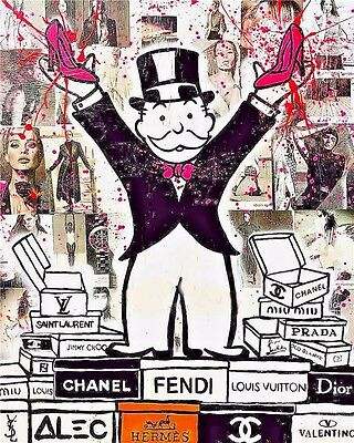 Alec Monopoly Oil Painting on Canvas Urban art Wall Decor Fashion Brands 28x36""