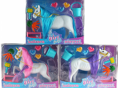 Set Of 3 Unicorn Model Toys With Play Accessories And Comb - Pink Purple Blue