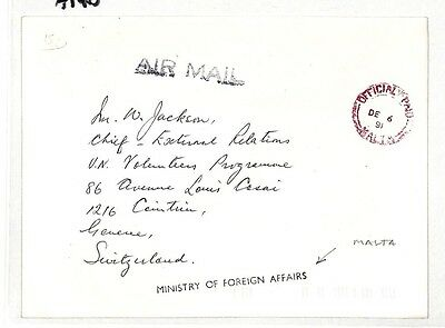 AT40 1991 Malta Air Mail Ministry of Foreign Affairs Cover {samwells-covers}PTS