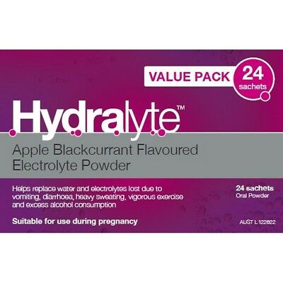 Hydralyte Apple Blackcurrent Sachet Value 4.9Gx24 NEW
