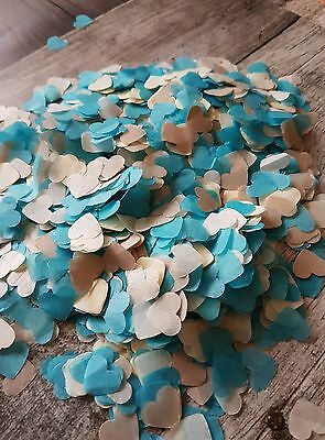 Turquoise &Pearlescent Champagne& ivory Heart  Wedding throwing Confetti 2guests