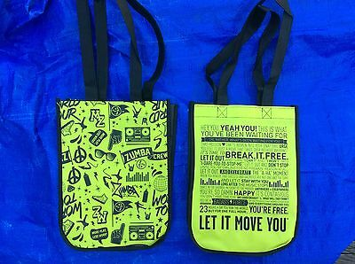 2 NEW Zumba Tote Bags 9x12x4 Travel/Cosmetic/Gym/Shoe Bag/Lunch DIFFERENT DESIGN