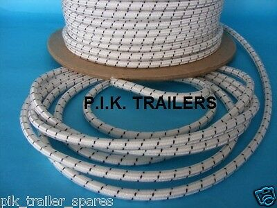 9 metres 8mm WHITE Bungee Shock Cord Rope for Trailer Covers Tie Down
