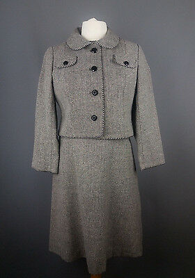 Peggy French Couture vintage suit dress jacket tweed silk business office UK 16