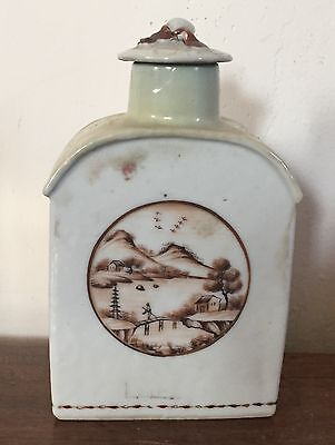 Antique Chinese Export Porcelain Tea Caddy Landscape American Market 18th c.