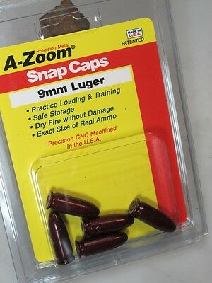 9mm Luger A-ZOOM  Pack of 5 SNAP CAPS -Solid Anozidized Dummy-Training Ammo
