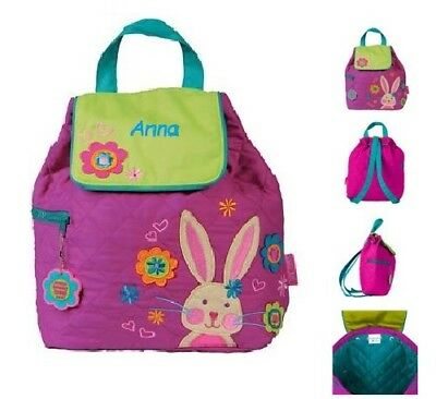 Stephen Joseph Bunny Quilted Backpack Girls Rucksack - can be personalised d7988acd6ed54