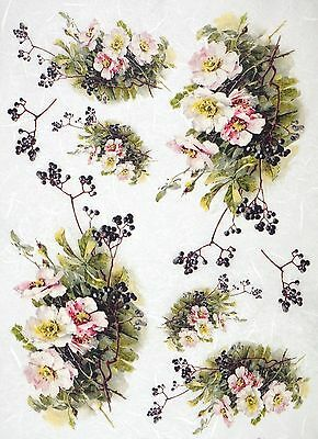 Rice Paper for Decoupage Decopatch Scrapbook Craft Sheet Vintage Blossom
