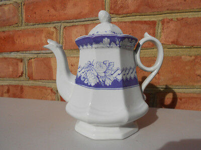 Old Antique White Ironstone Child's Toy Teapot Coffeepot w Purple Transfer Decor