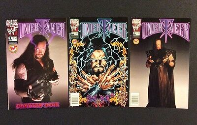UNDERTAKER #1 Comic Books WWE Wrestling Photo Covers Chaos! PREVIEW BOOK 1999