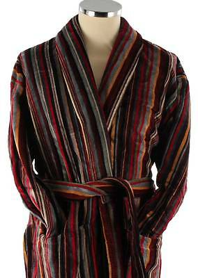 Bown of London Geneva Multi-striped Cotton Velour Dressing Gown - Wine/Grey/Ecru