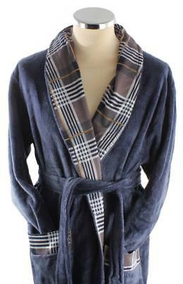 Bown of London Tartan Bamboo Cotton Dressing Gown - Navy
