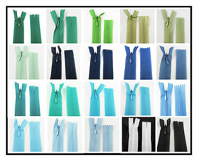 "No.3 CONCEALED 5"" - 40"" CLOSED END NYLON ZIPS BLUE & GREEN HABERDASHERY ZIPPER"