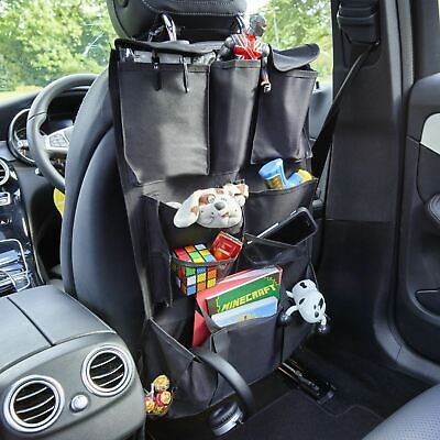 2 X Vinsani Deluxe Multi Pocket Hanging Car Back Seat Pouch Organiser - Black