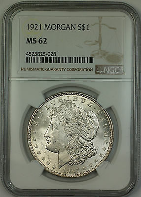1921 Morgan Silver Dollar $1 Coin NGC MS-62 (15f)