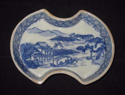 """Asian Pottery White & Blue, River Scene, Decorative Plate or Dish, 6 3/4"""" by 5"""""""